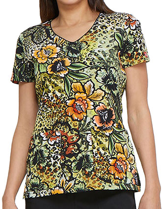 Dickies Women's Prowling Petals Printed V-Neck Top