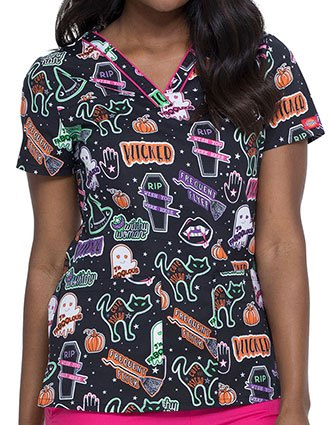 Dickies Witchy Woman Printed V-Neck Top