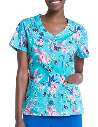 Dickies Women's Jungle Flutter Print V-Neck Top