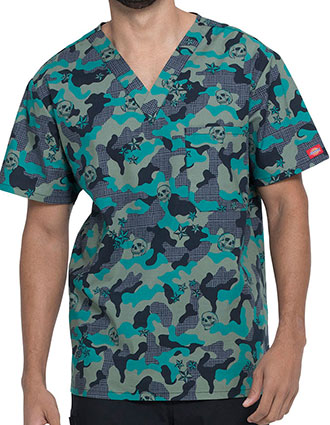 Dickies Men's Crosshatch Camo Print V-Neck Top