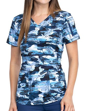 Dickies Women's Stone Cold Camo Navy Print V-Neck Top