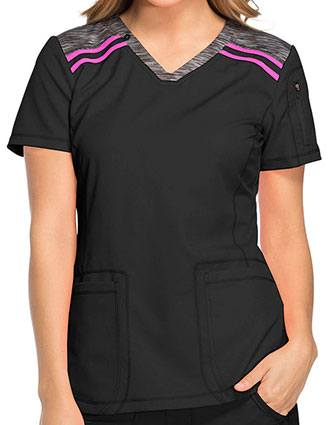 Dickies Dynamix Women's Contemporary fit V-neck Contrast Trim Fashion Top