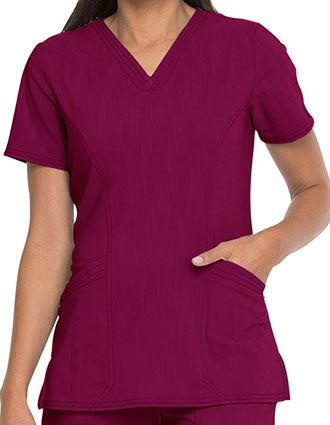 Dickies Advance Women's Solid Tonal Twist V-Neck Top