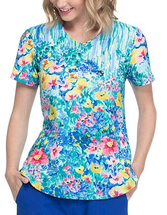 Elle Women's Hand Painted Posies Print V-Neck Top