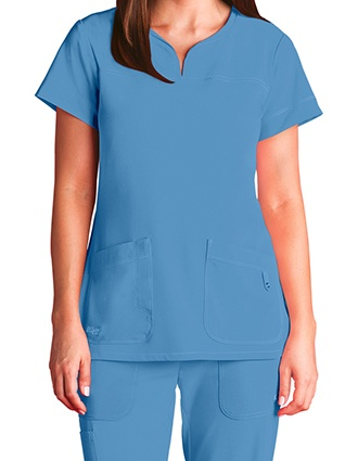 Greys Signature Women's Two Pocket Notch Yoke Neck Scrub Top