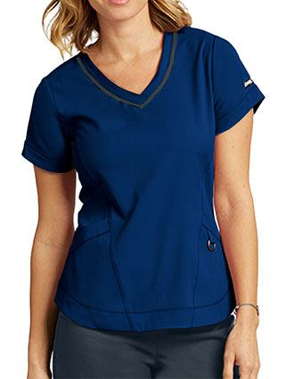 Grey's Anatomy Women's Seamed V-neck Fashion Top