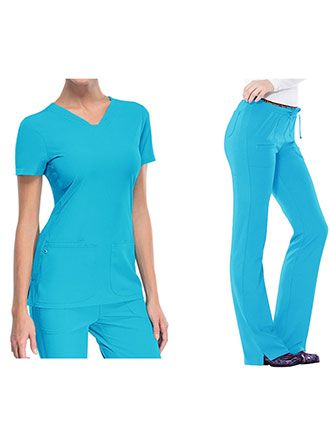 HeartSoul Break On Through Women's Pitter-Pat Shaped V-Neck Scrub Set