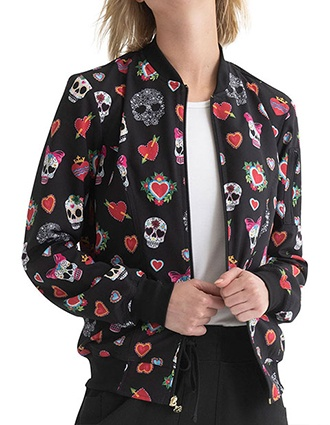 HeartSoul Women's Zip Front Bomber Jacket For Halloween In Dia De Las Flores