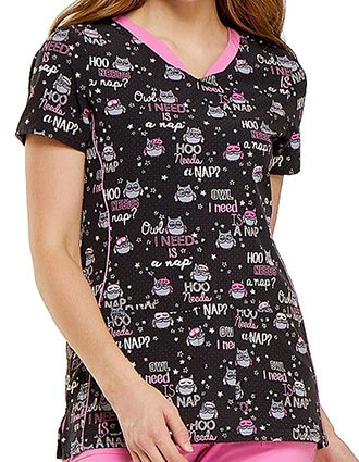HeartSoul Womens V-Neck Hoo Needs A Nap Animal Print Scrub Top