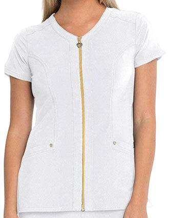 HeartSoul Women's Zip Front V-Neck Top