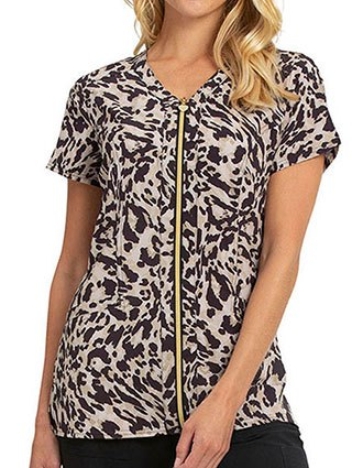 HeartSoul Women's Go Wild Prints V-Neck Top