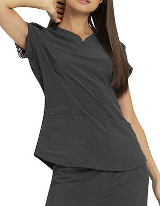 HeartSoul Love Always Women's Shaped Y-Neck Scrub Top