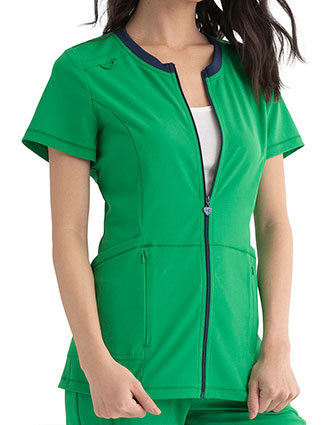 HeartSoul Break on Through Women's Zip Front Scrub Top