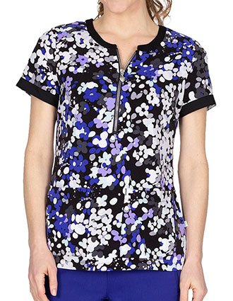 Healing Hands Women's Jean Zipper Evening Violet Scrub Top