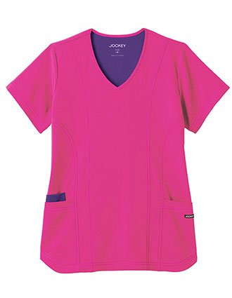 Jockey Modern Women's Contrast Stitch V-Neck Scrub Top