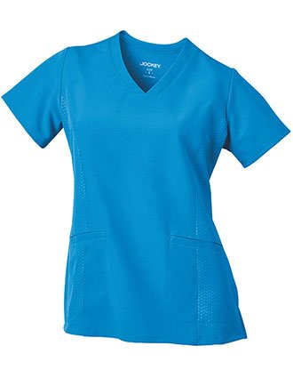 Jockey Performance Rx Women's V-Neck Embossed Side Panel Solid Scrub Top