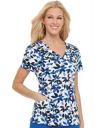 Landau Missy Anchored Blooms Notched Surplice Nursing Scrub Top