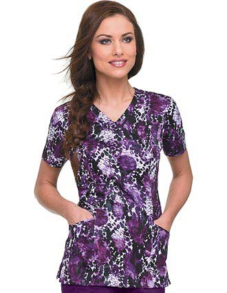 Landau Night Shade Detailed V-neck Nurse Scrub Top