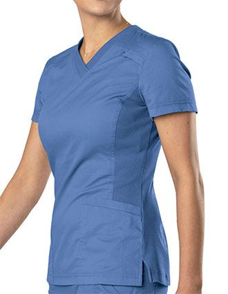 Landau All Day Women's Knit Panel V-Neck Solid Scrub Top