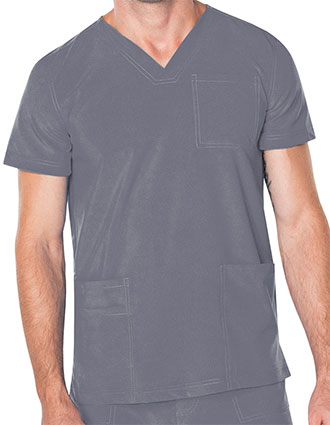 Landau Proflex Men's V-Neck Chest Pocket Solid Scrub Top
