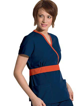Landau Women Two Pocket Crossover Nursing Scrub Top
