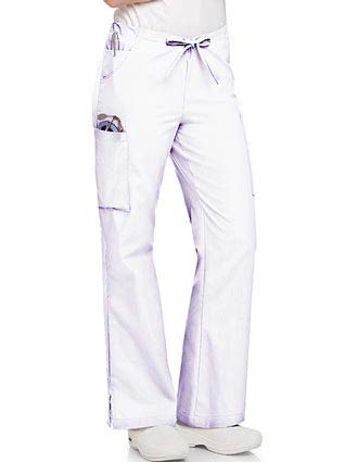 Landau Women Five Pockets Cargo Petite Flare Leg Medical Scrub Pants