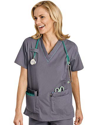 Landau Uniform Updated Style for 8219 Women Scrub Top with Piping