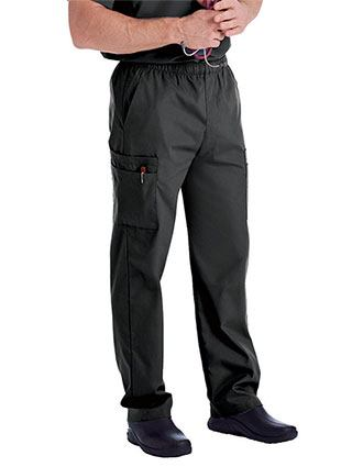 Landau Platinum Men's Cargo Pockets Elastic Waist Medical Scrub Petite Pants