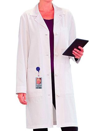 Meta Women's 38 Inches Knot Button iPad Pocket Long Labcoat
