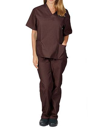 Natural Uniforms Unisex V-neck Solid Scrub Set