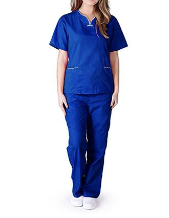 Natural Uniforms Women's Contrast Scallop Scrub Set
