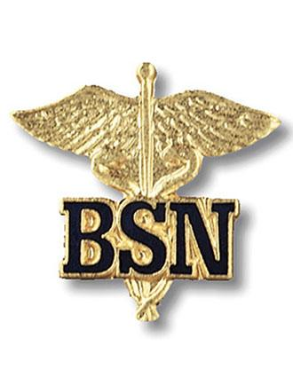 Prestige Letters on Caduceus BSN Emblem Pin