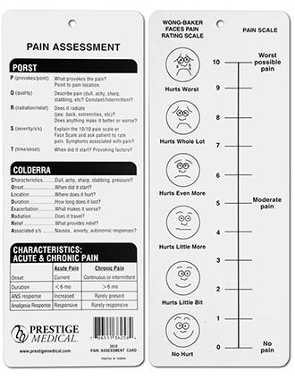 Prestige Pain Assessment Card