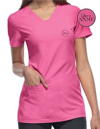 Women's Pitter-Pat Shaped V-Neck Scrub Top