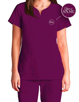 Women's Two Pocket Notch Yoke Neck Scrub Top
