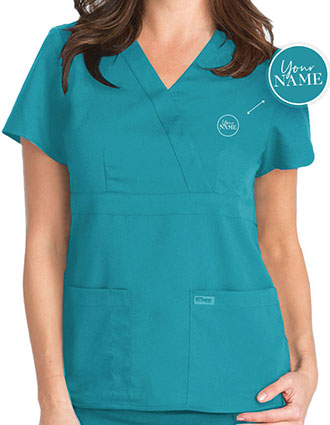 Junior Fit Mock Wrap Nurse Scrub Top