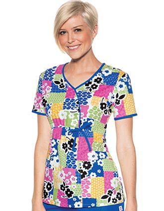 Skechers Women Mock Wrap Patch-adena Print Nurses Scrub Top