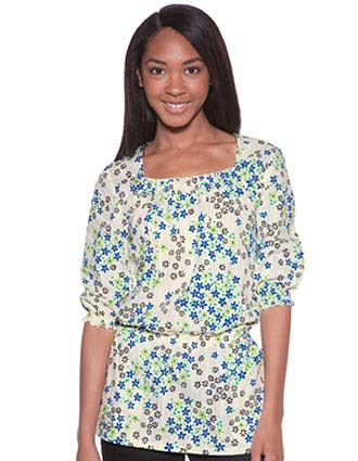Skechers Women Two Pockets Verano Print Nurses Scrub Top