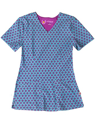 Urbane Ultimate Women's Marbled Red Print V-Neck Stretch Scrub Top
