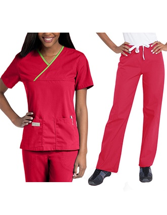 Urbane Women's Double Pocket Crossover Low Rise Boot Cut Scrub Tall Set