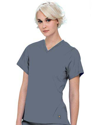 Urbane Women Tipped V-Neck Nursing Scrub Top