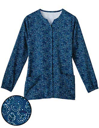 White Swan Fusion Women Notched Medley Printed Scrub Jacket