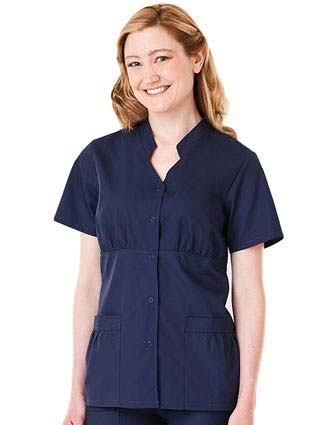 White Swan Fundamentals Womens Snap Front Nursing Scrub Top