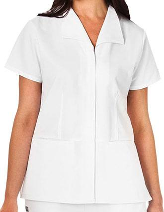 White Swan Fundamentals Ladies Zip Front Wing Collar Top