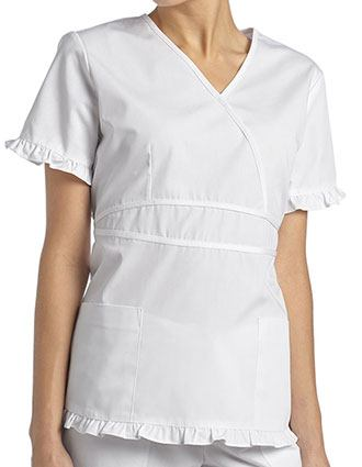 White Cross Women's Mock Wrap Ruffle Top