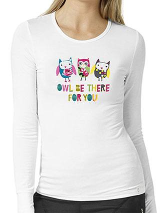 Wonderwink Womens Owl Be There For You Printed Underscrub Tee