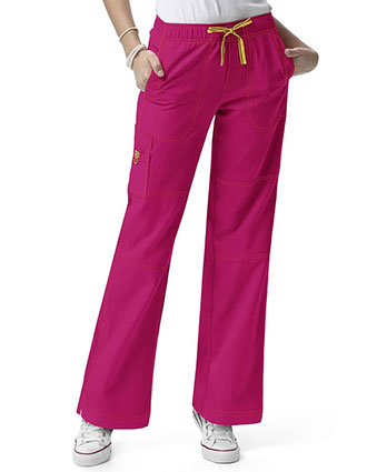 Wink Scrubs Women Petite Sporty Cargo Solid Nursing Pants