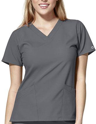 Wonderwink W123 Women's Basic V-Neck Solid Scrub Top