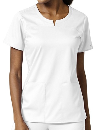 Wonder Wink Pro Womens Seam Notch Neck Scrub Top