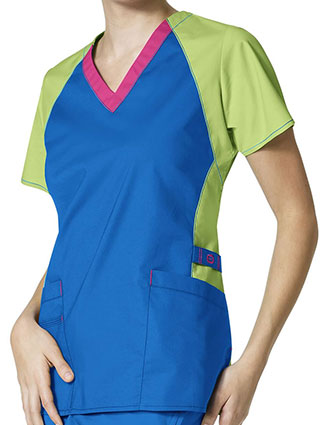 Wonderwink Wonderflex Women's Trinity 3 Pocket Color Block Top